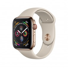 Apple Watch Series 4 40mm GPS+LTE Gold Stainless Steel Case with Stone Sport Band (MTUR2)