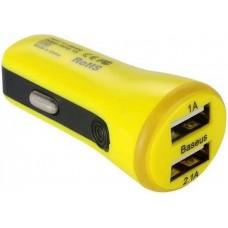 Автомобильное ЗУ Baseus 2.1A Dual USB Car Charger Tiny-Color Yellow (CCALL-CR0Y)