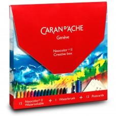 Набір Caran d'Ache Neocolor Creative Box (15 пастельних олівців + 12 листівок + щітка) (7630002329934)