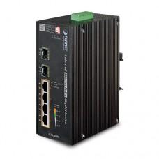 Промышленный коммутатор PoE Planet IGS-624HPT (4Port 10/100/1000T 802.3at PoE+ 2-Port 100/1000X SFP)