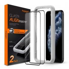 Защитное стекло Spigen для iPhone 11 Pro/XS/X Glas.tR AlignMaster (2 шт), Black (AGL00480)