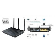 Интернет-шлюз ASUS RT-AC66U 802.11ac AC1750 Двухдиапазонный, Гигабитный, USB 2.0, AiCloud