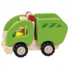 Машинка деревянная goki Мусоровоз (зеленый) 55964G