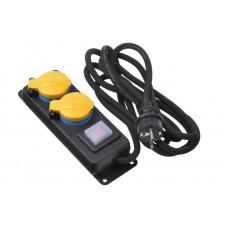Сетевой фильтр 2Е 2XSchuko ІР44 с защитой, выключателем 3G1.5*3M, Черный