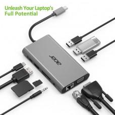Док-станция 10in1 Type C, 3xUSB 3.0, HDMI, VGA, Type C, Cardreader, TF Cardreader, 1GB Ethernet