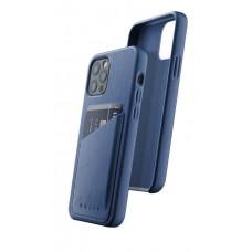 Чехол кожаный MUJJO для iPhone 12 / 12 Pro Full Leather Wallet, Monaco Blue