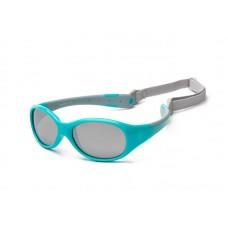 Детские солнцезащитные очки Koolsun KS-FLAG000 бирюзово-серые серии Flex (Размер: 0+)