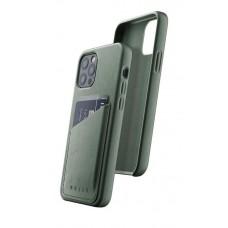 Чехол кожаный MUJJO для iPhone 12 / 12 Pro Full Leather Wallet, Slate Green
