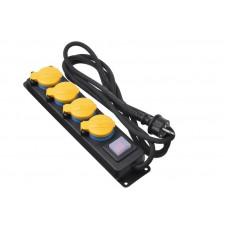Сетевой фильтр 2Е 4XSchuko ІР44 с защитой, выключателем 3G1.5*3M, Черный