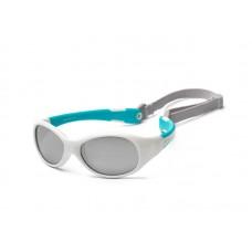 Детские солнцезащитные очки Koolsun KS-FLWA000 бело-бирюзовые серии Flex (Размер: 0+)
