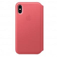 Чехол iPhone Xs Leather Folio - Peony Pink (MRRX12)