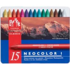 Пастель Воскова Водостійка Caran d'Ache Neocolor I Металевий бокс, 15 кольорів (7610186223150)