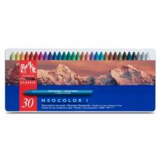Пастель Воскова Водостійка Caran d'Ache Neocolor I Металевий бокс, 30 кольорів (7610186223303)