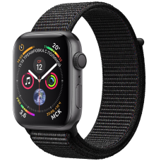 Розумний годинник Apple Watch Series 4 GPS 44mm Gray Alum. w. Black Sport l. Gray Alum. (MU6E2)