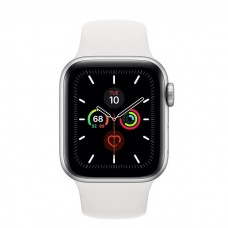 Apple Watch Series 5 GPS + Cellular 40mm Silver Aluminum Case with White Sport Band (MWWN2)