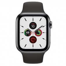 Apple Watch Series 5 GPS + Cellular 40mm Space Black Stainless Steel Case with Black Sport Band (MWWW2)