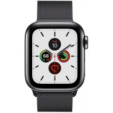 Apple Watch Series 5 GPS + Cellular 40mm Space Black Stainless Steel Case with Space Black Milanese Loop (MWWX2)